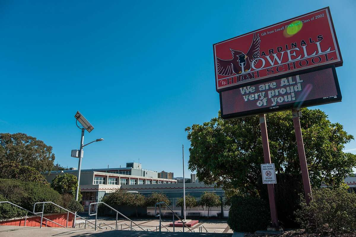 A general view of Lowell High School in San Francisco on Monday, October 12, 2020. Lowell High, considered one of the best public high schools in the country, is considering temporarily suspending its rigorous admissions standards for next school year.