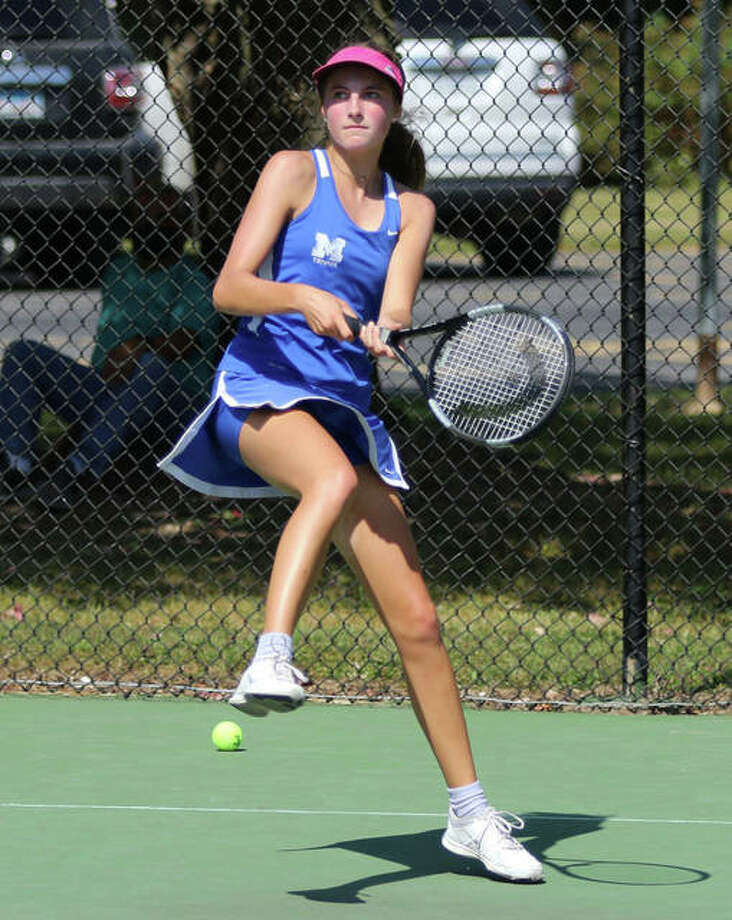 Monica Wendle of Marquette Catholic is the No. 1 singles seed at this weekend's Belleville Althoff Class 1A Girls sectional Tennis Tournament. Photo: Greg Shashack | The Telegraph