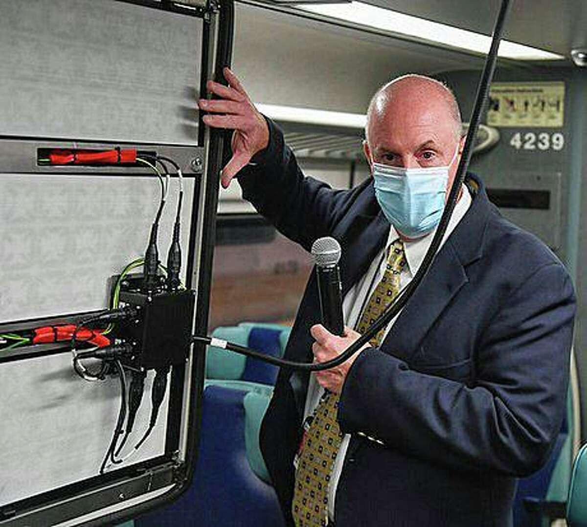 James Heimbuecher, the Metro-North's chief mechanical officer, describes a three-stage air filtration and purification system on a rail car that could kill not only the coronavirus, but nearly all airborne viruses, bacteria and particulates. The railroad announced a pilot program for testing the system on Thursday, Oct. 15, 2020.