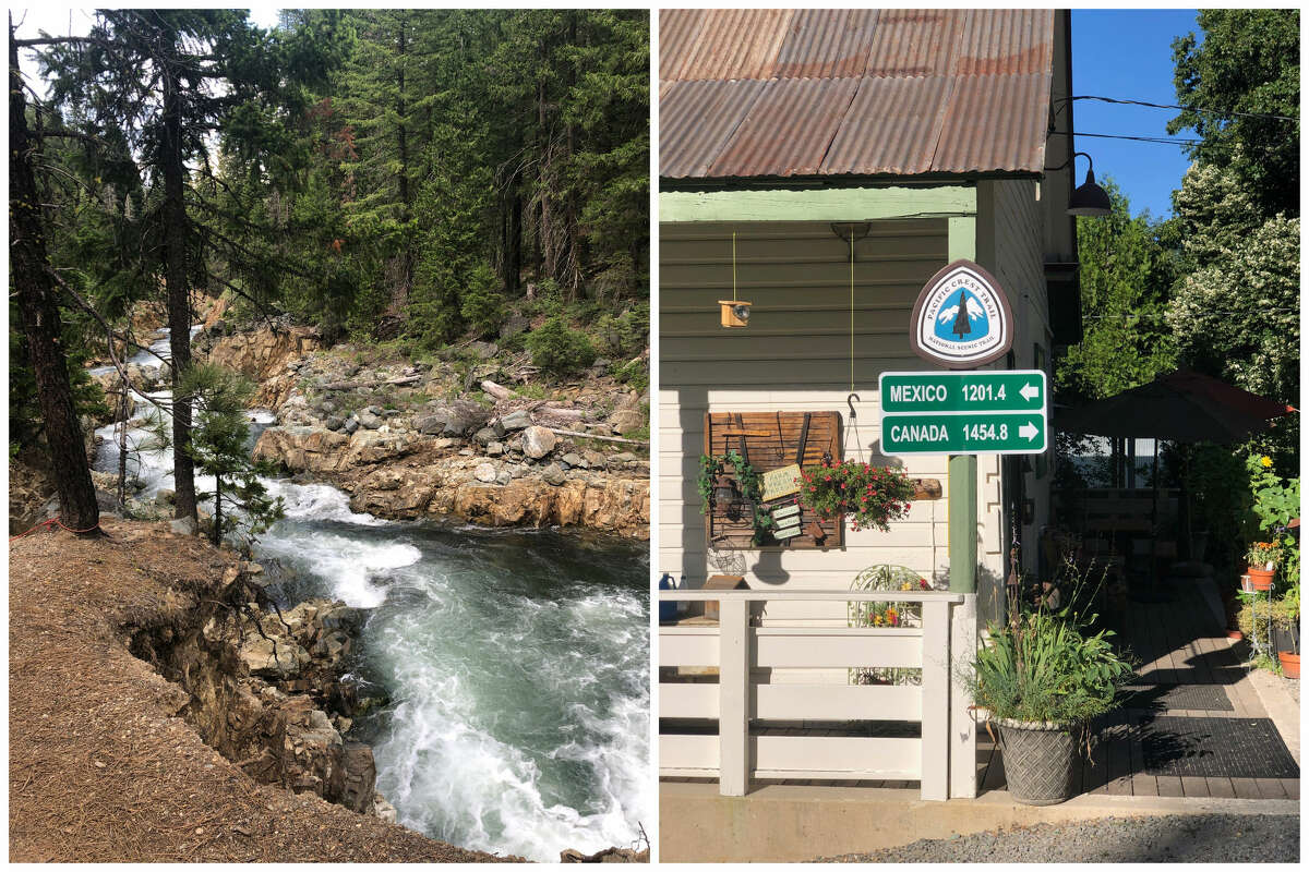 The Lost Sierra is full of swimming holes to discover, shown at left in this combination image. The Pacific Crest Trail, right, is another way to experience the Lost Sierra's beauty.