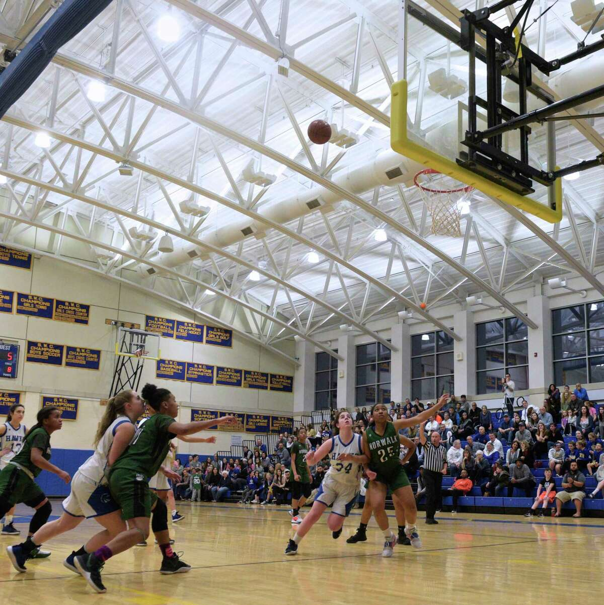 Newtown hosts Norwalk in a Class LL girls basketball quarterfinal on March 9. The CIAC set a framework for winter sports seasons, 'solely for scheduling purposes' on Thursday.