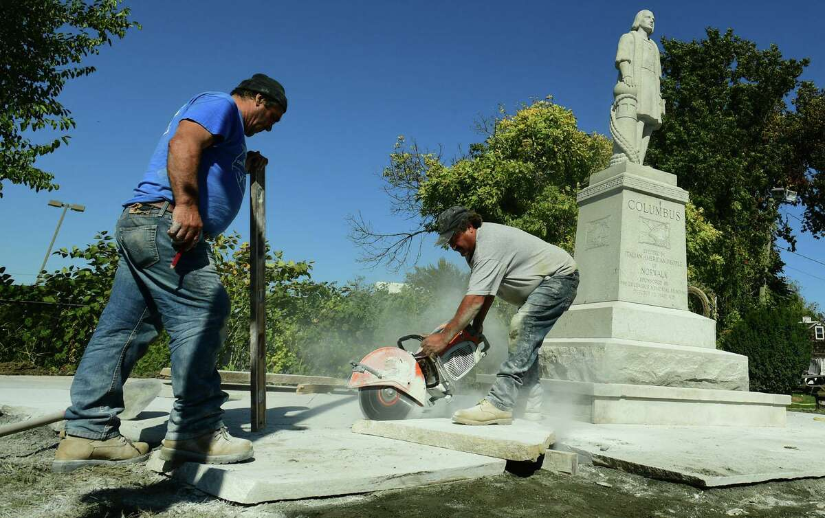 The Columbus statue at the St. Ann Club Wednesday, October 14, 2020, in Norwalk, Conn. Months after the city removed it from Heritage Park, Norwalk's Columbus statue has found a new home at the Club.