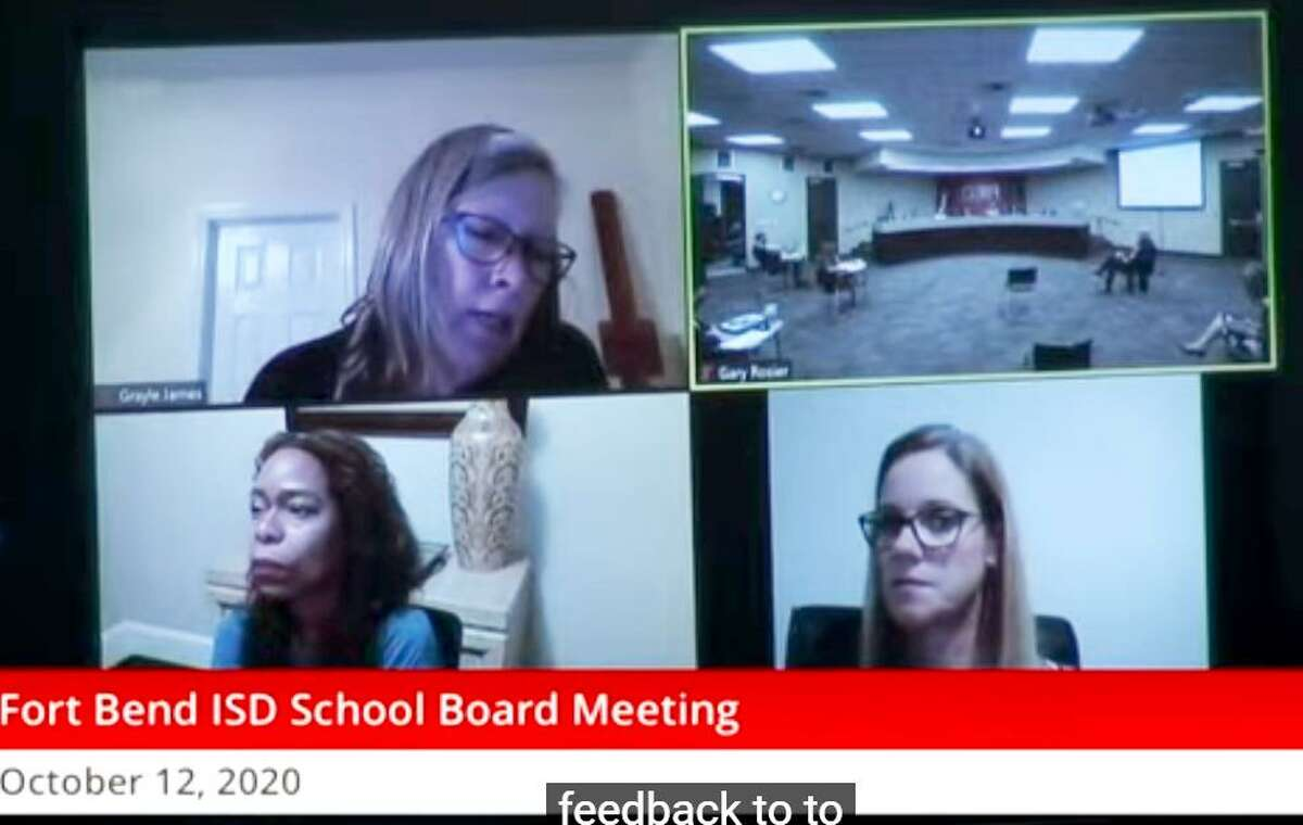 Grayle James, Fort Bend ISD trustee (top left) and other board members were generous with advice for administrators, teachers and even students who returned last week to the classroom during the Oct. 13 board meeting. At bottom left is trustee Allison Drew, who also participated in the meeting via zoom, and at bottom right is Fort Bend ISD Chief Academic Officer Beth Martinez.