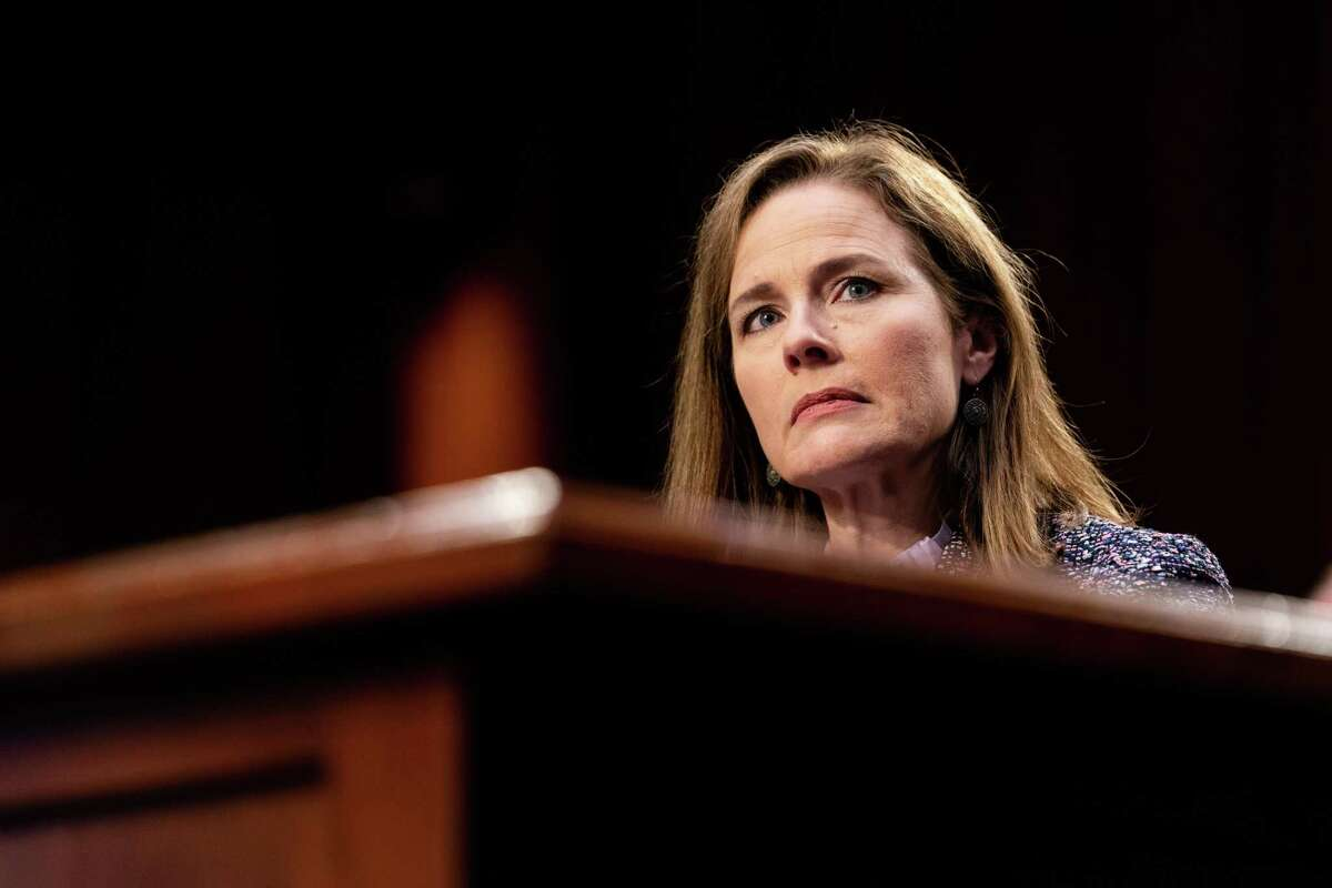 Judge Amy Coney Barrett speaks during the third day of her Senate confirmation hearing to the Supreme Court on Capitol Hill in Washington, Oct. 14, 2020.