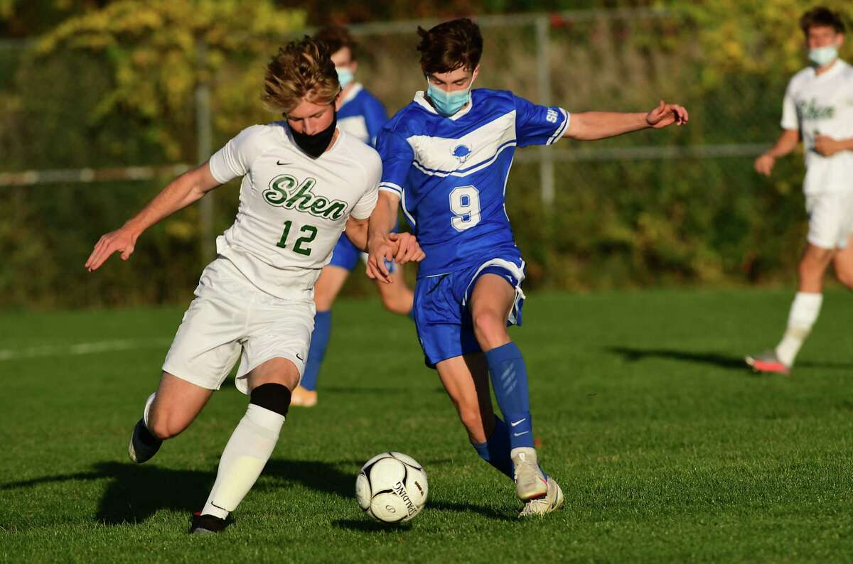 Shenendehowa's Alex Sukols, left, and Shaker's Colin Brant battle during a soccer game on Thursday, Oct. 15, 2020 in Latham, N.Y. (Lori Van Buren/Times Union)
