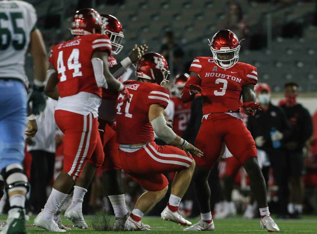 The University of Houston, celebrating a sack against Tulane, would like to have more to cheer about against BYU on Friday.