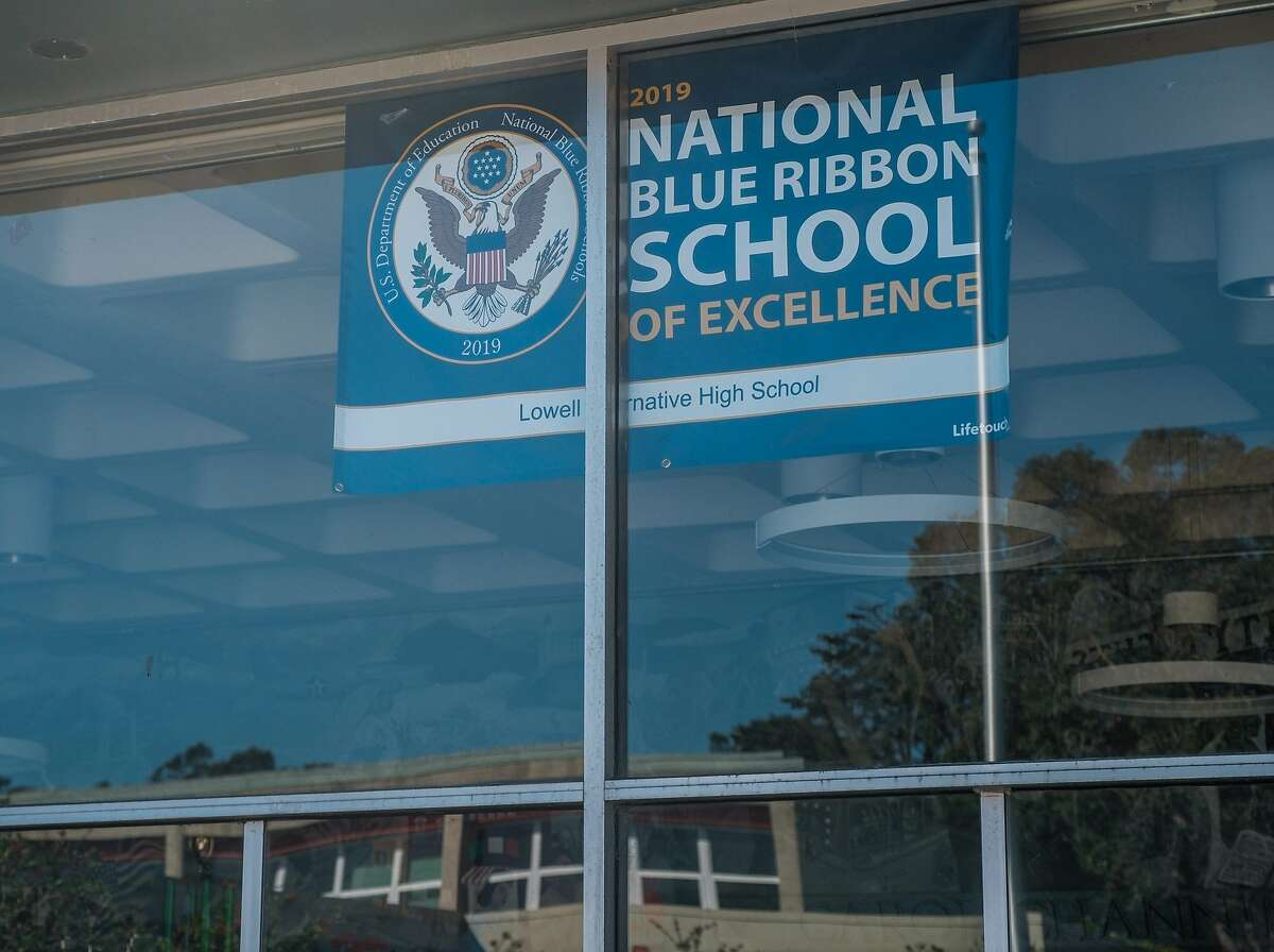 A National Blue Ribbon of Excellence banner hangs in the entrance to Lowell High School in San Francisco on Monday, October 12, 2020. Lowell High, considered one of the best public high schools in the country, is considering temporarily suspending its rigorous admissions standards for next school year.