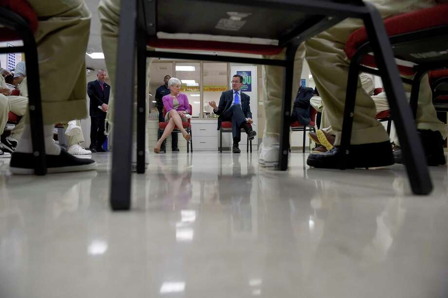 Lt. Gov. Nancy Wyman and Gov. Dannel Malloy meet with inmates at the Hartford Correctional Center on Thursday, July 16, 2015. Photo: John Woike / Hartford Courant / Connecticut Post contributed