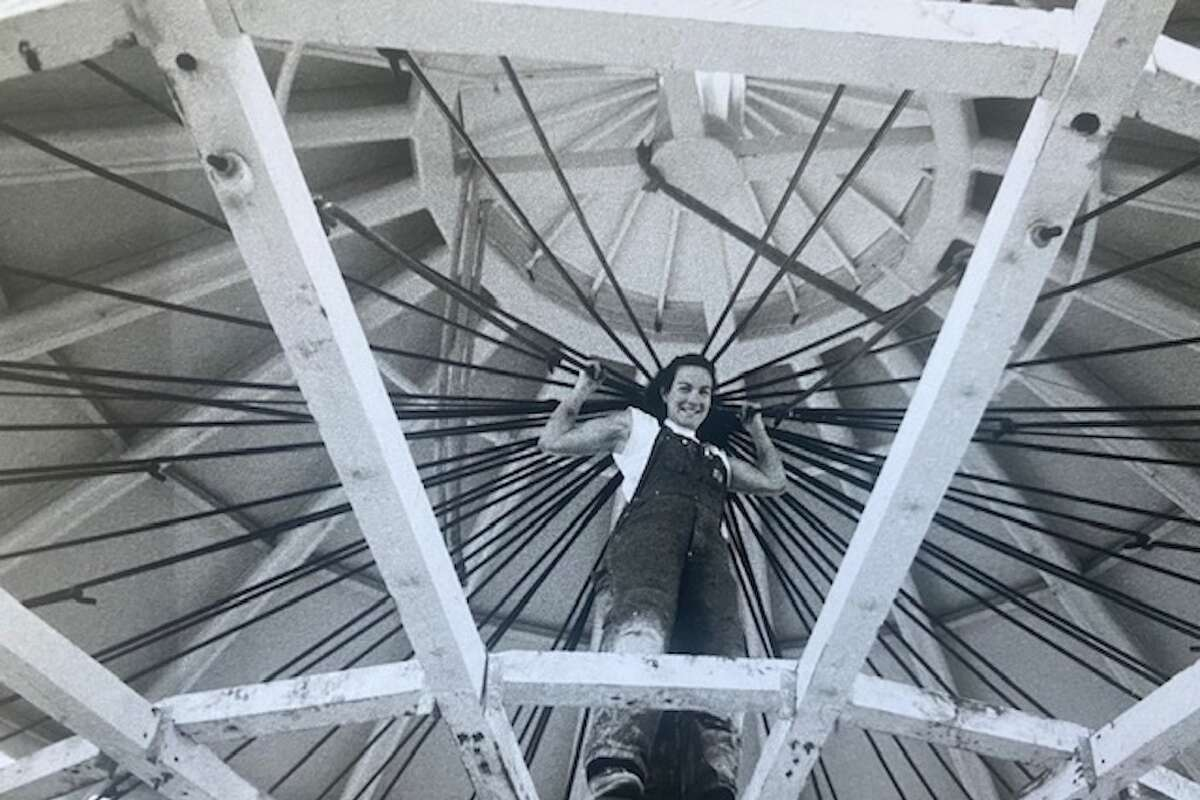 Diana Coopersmith at the top of the Coney Island carousel at Yerba Buena Gardens.