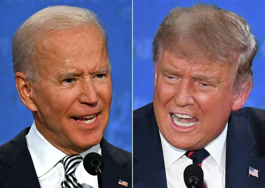 In this file combination of pictures created on Sept. 29, 2020 Democratic Presidential candidate and former Vice President Joe Biden, left, and President Donald Trump speak during the first presidential debate at the Case Western Reserve University and Cleveland Clinic in Cleveland, Ohio. Photo: JIM WATSON / AFP Via Getty Images / AFP or licensors