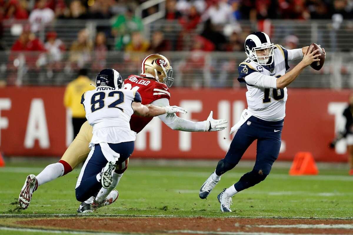 San Francisco 49ers' Arik Armstead pressures Los Angeles Rams' Jared Goff in 3rd quarter of Niners' 34-31 win in NFL game at Levi's Stadium in Santa Clara, Calif., on Saturday, December 21, 2019.
