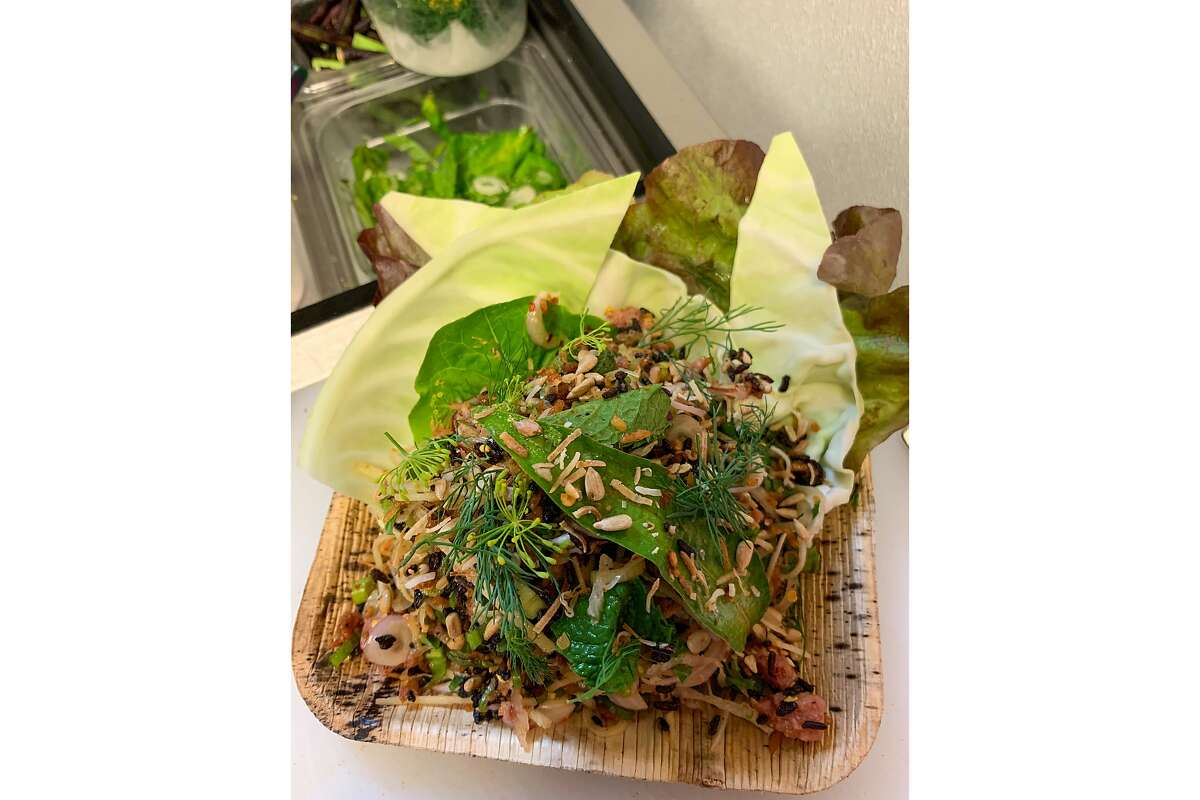 Naem khao tod, crispy rice salad, is made with three different kinds of rice at the pop-up Intu-on.