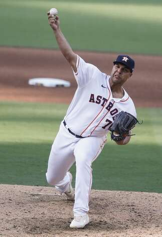 Houston Astros Andre Scrubb pitches against the Tampa Bay Rays during the fifth inning of Game 5 of the American League Championship Series at Petco Park Thursday, Oct. 15, 2020, in San Diego. Photo: Karen Warren/Staff Photographer / © 2020 Houston Chronicle