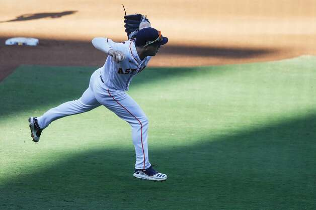 Houston Astros Alex Bregman throws out Tampa Bay Rays Manuel Margot to end the top of the fifth inning of Game 5 of the American League Championship Series at Petco Park Thursday, Oct. 15, 2020, in San Diego. Photo: Karen Warren/Staff Photographer / © 2020 Houston Chronicle