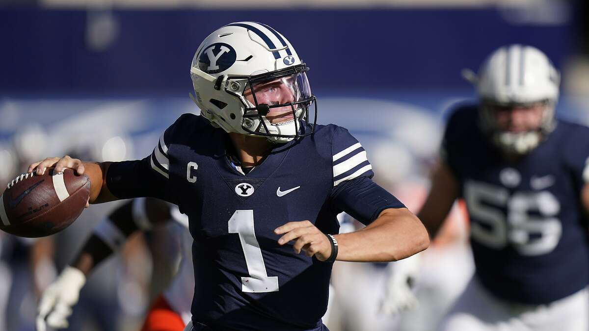 BYU quarterback Zach Wilson (1) throws downfield in the second half during an NCAA college football game against UTSA Saturday, Oct. 10, 2020, in Provo, Utah. (AP Photo/Rick Bowmer, Pool)