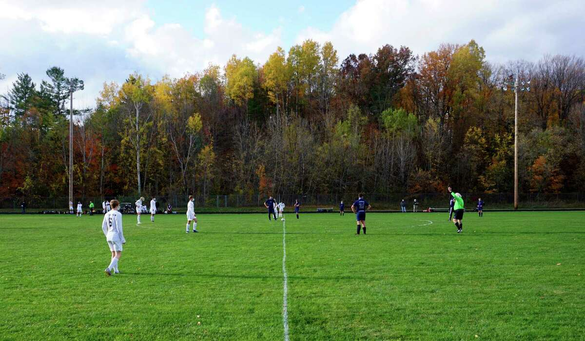 The Crossroads Charter Academy boys' soccer team played its final game of the season on Thursday, falling 8-0 to North Muskegon. (Pioneer photo/Joe Judd)