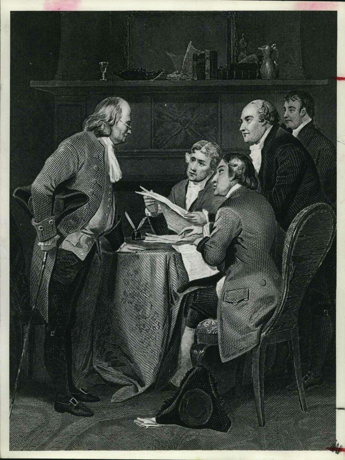 Artist's sketch of U.S. Constitution committee members at meeting.
