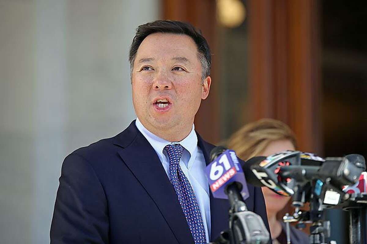 Attorney General William Tong participated in a press conference at the state Capitol Thursday, Oct. 15, 2020, to make clear the state will not tolerate voter intimidation at the polls.