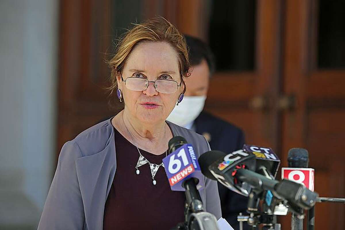 Secretary of the State Denise Merrill held a press conference at the state Capitol Thursday, Oct. 15, 2020, to make clear the state will not tolerate voter intimidation at the polls.