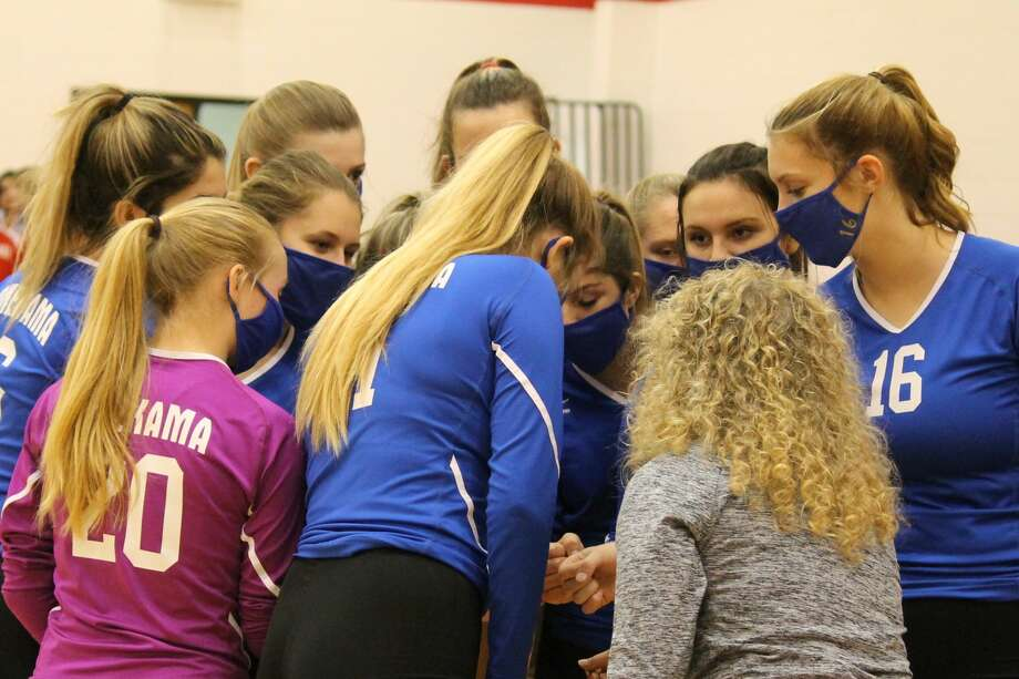 Onekama picks up a road volleyball victory in a three-set sweep of the Bear Lake Lakers on Oct. 15. Photo: Robert Myers