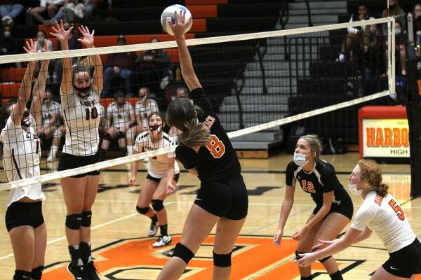 Cass City traveled to Harbor Beach on Thursday night, where the Red Hawks topped the Pirates in straight sets, 25-14, 25-17, 25-18. (Mark Birdsall/Huron Daily Tribune)