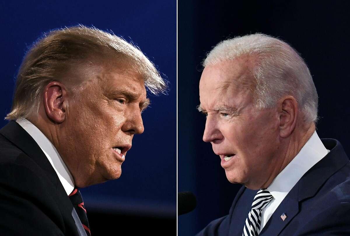 President Trump, left, and Joe Biden held dueling town hall meetings.