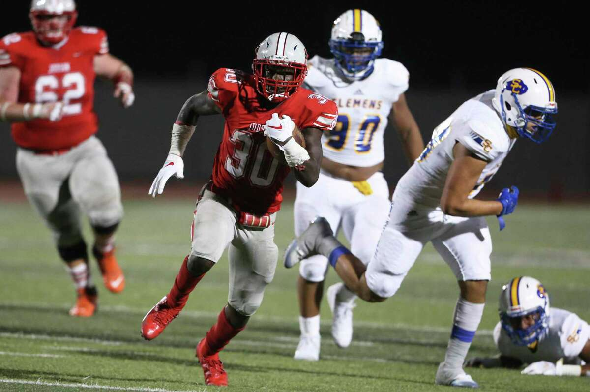 Rocket running back De'Anthony Lewis gets loose a group of tacklers as Judson hosts Clemens at Rutledge Stadium on Oct.15, 2020.