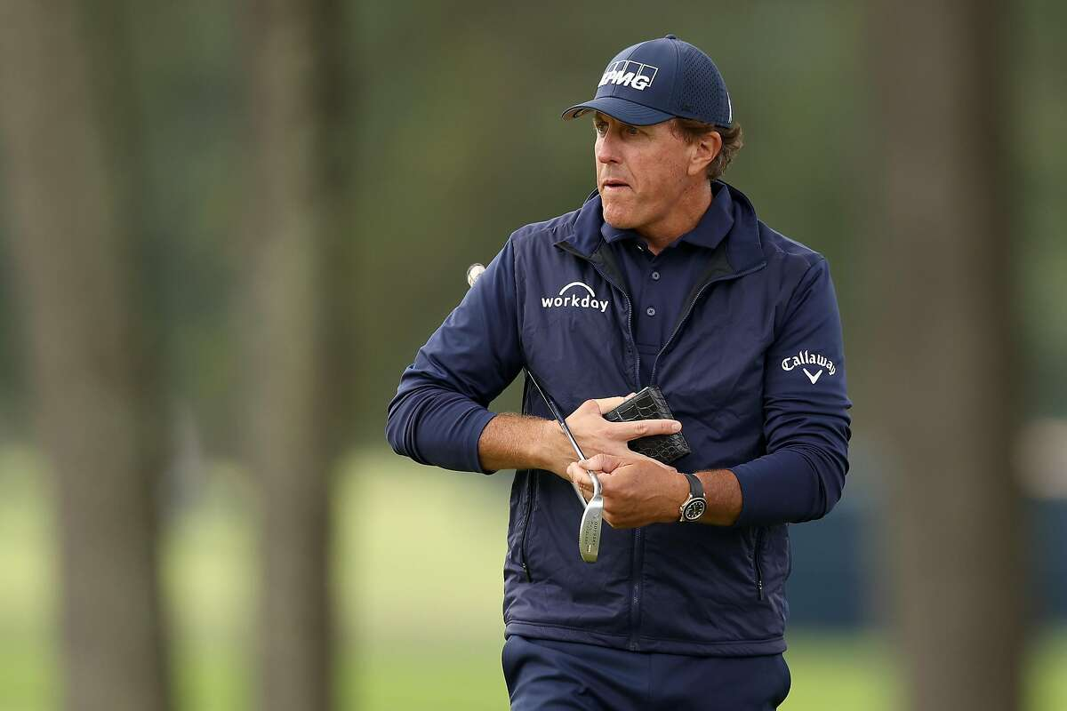 Phil Mickelson is preparing to try for a fourth Masters title by playing against older guys in Virginia. At 50, Mickelson says he still hits long enough but straight enough is another matter.