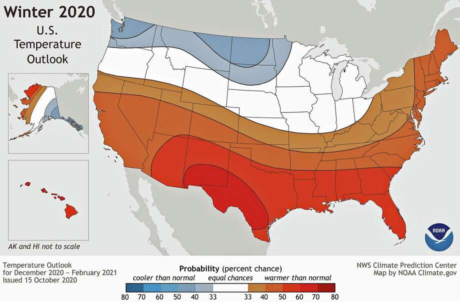 This map shows the probability (percent chance) that winter temperatures (December 2020-Februry 2021) at any location will be in the upper, middle, or lower third of the climatological record (1981-2020). Red colors indicate a warmer-than-average month is most likely, while blues indicate a cooler-than-average month is most likely. Darker colors mean higher chances; not more extreme conditions. Map by NOAA Climate.gov, using data from NOAA's Climate Prediction Center. Photo: NOAA