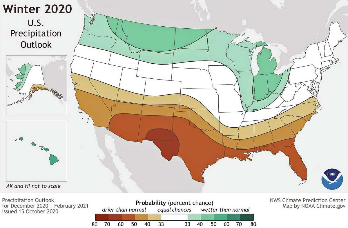 This map shows the probability (percent chance) that winter precipitation (December 2020-Februry 2021) at any location will be in the upper, middle, or lower third of the climatological record (1981-2020). Green colors indicate a wetter-than-average month is most likely, while browns indicate a drier-than-average month is most likely. Darker colors mean higher chances; not more extreme conditions. Map by NOAA Climate.gov, using data from NOAA's Climate Prediction Center. The following are some other winter forecasts: