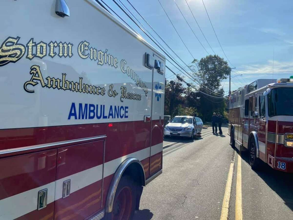 Units on scene for a crash in Derby, Conn., on Thursday, Oct. 15, 2020.