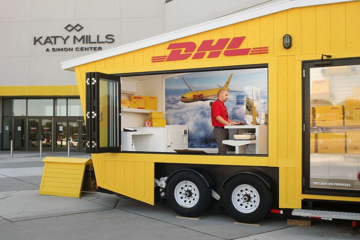 The new DHL ServicePoint pop-up store at Katy Mills aims to make shipping packages convenient for customers.