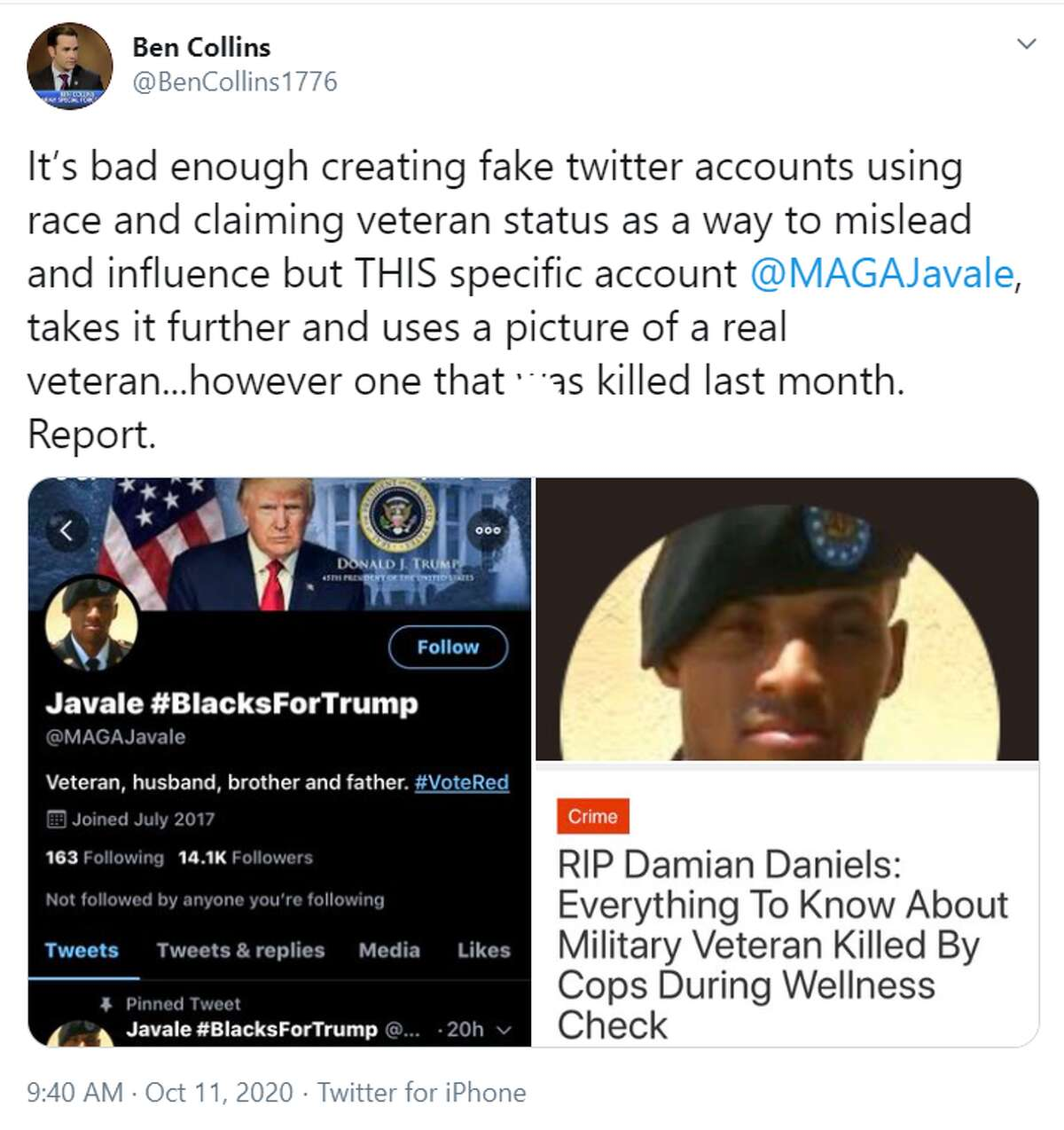 Twitter has been removing dozens of fake accounts claiming to be Black voters in support of President Trump, including one account that posed as a Damian Daniels, the man killed by BCSO deputies in August.