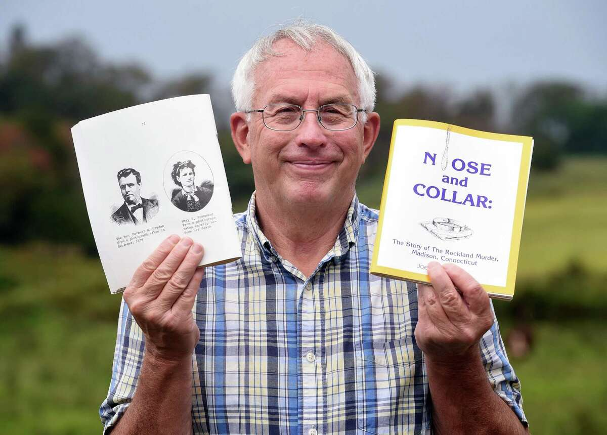 Joel Helander is photographed with his book, Noose and Collar, at his home in Guilford on August 13, 2020. At left is a page of the book with engravings of Rev. Herbert H. Hayden and Mary E. Stannard. Hayden was acquitted for the murder of Stannard.