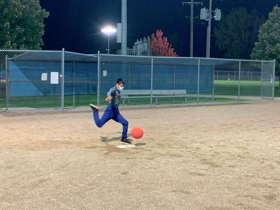 "As a way to help keep scout meetings alive, Boy Scout Troop 768 from Midland hosted ""Kickball Under the Lights"" on Wednesday at Redcoats Field No. 12 on Whitman Drive in Midland. (Photo provided/Boy Scout Troop 768)"