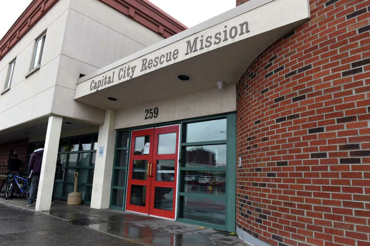 South Pearl Street entrance to the Capital City Rescue Mission on Friday, Oct. 16, 2020, in Albany, N.Y. In his new book, Gov. Andrew M. Cuomo says the Capital City Rescue Mission burned down during anti-police rallies that turned violent this summer. (Will Waldron/Times Union)