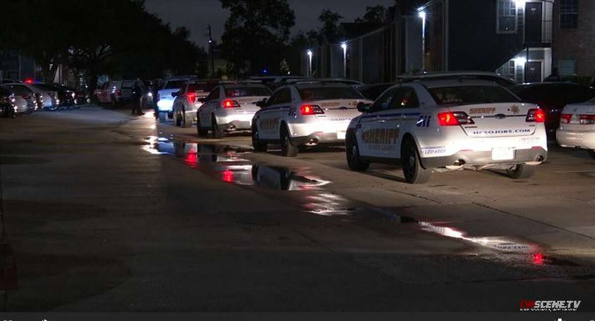 Harris County Sheriff's Office deputies investigate a fatal shooting of an alleged teenage robber at 5900 Uvalde on Friday, Oct. 16, 2020.