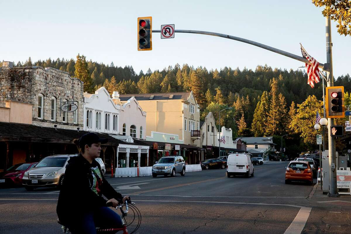 The small Napa Valley city of Calistoga was shook by a 3.4 magnitude earthquake Saturday morning. In this October 2020 photo, people move through downtown.