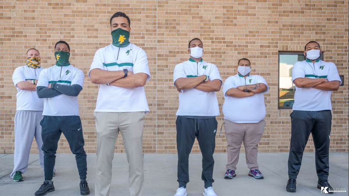 In addition to Johnathan Wilson coming as Klein Forest head football coach, three former graduates also returned to the campus and are members of the coaching staff. There are now six alumni coaching at Klein Forest with a total of 14 coaches in varsity, junior varsity, freshman A and freshman B. From left to right: Kyle Kelley, Darius Gatson, Johnathan Wilson, Luis Ochoa, Rodney Freeman and Darryl Simon.