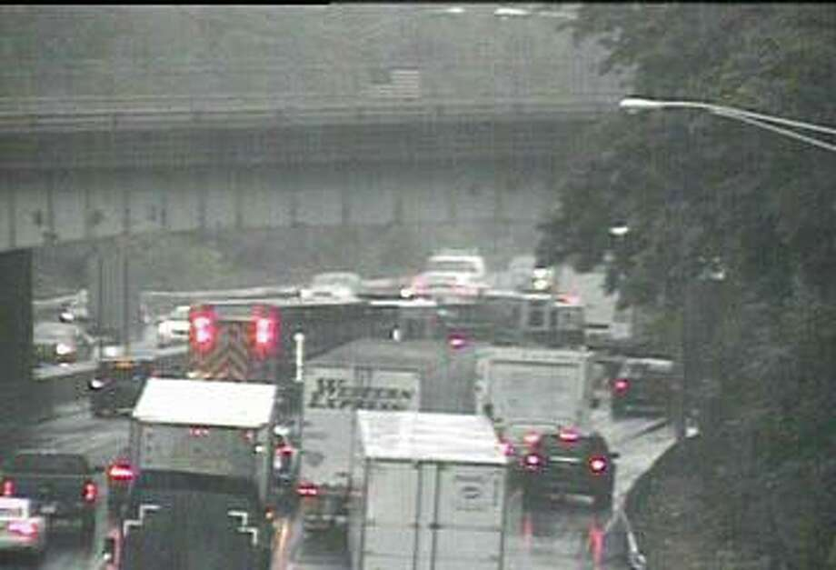 A number of accidents are causing traffic delays in southwest Connecticut on Friday, Oct. 16, 2020. In Fairfield, an accident involving a tractor-trailer truck and another vehicle has shut down two northbound lanes of I-95. Photo: CT DOT