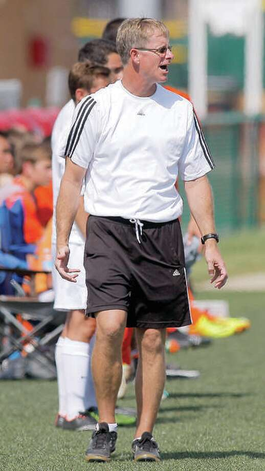 Edwardsville boys soccer coach Mark Heiderscheid was one of six coaches selected for the High School All-American Game next May 29 in St. Louis. Photo: Pete Hayes | The Telegraph