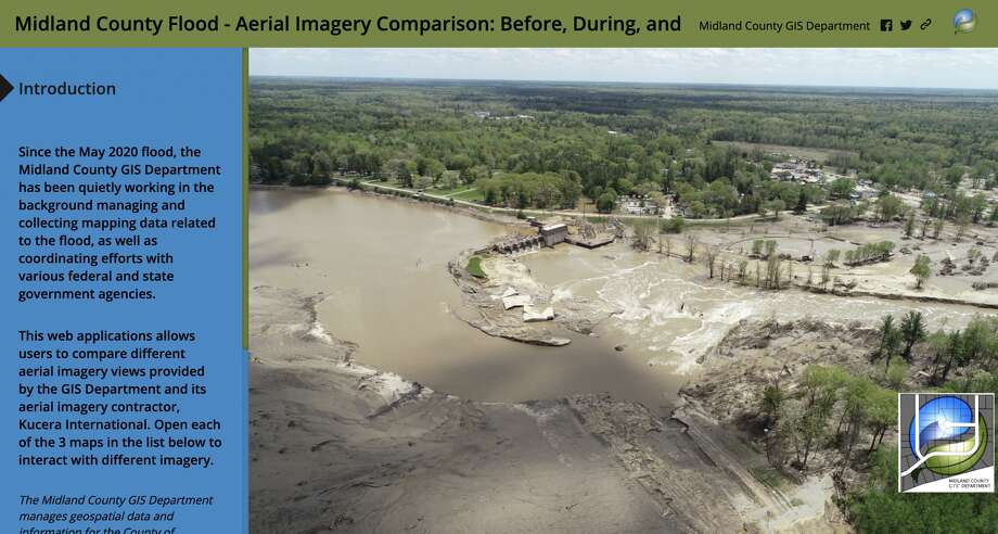 A screenshot shows the introduction to a new tool created by the Midland County GIS Department to explore before, during and after images from the May 2020 mid-Michigan dam failures and flooding. Photo: Screenshot/Midland County Flood - Aerial Imagery Comparison
