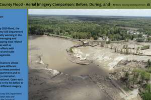 A screenshot shows the introduction to a new tool created by the Midland County GIS Department to explore before, during and after images from the May 2020 mid-Michigan dam failures and flooding.