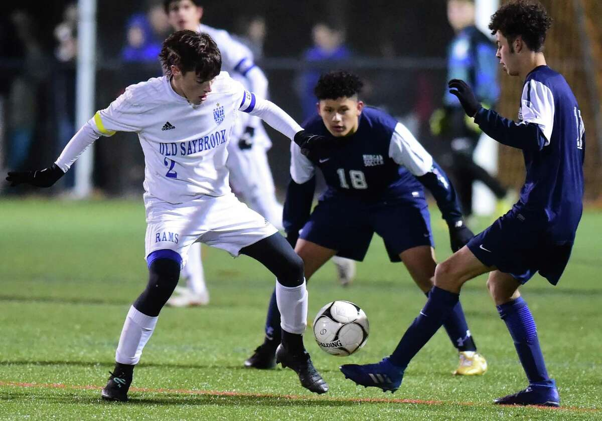Clinton, Connecticut - Friday, November 8, 2019: Morgan H.S. vs. Old Saybrook H.S. during the Shoreline Conference boys soccer championship Friday at the Indian River Complex in Clinton. Morgan H.S. and Old Saybrook H.S. are co-champions with the game ending in an overtime 2-2 tie