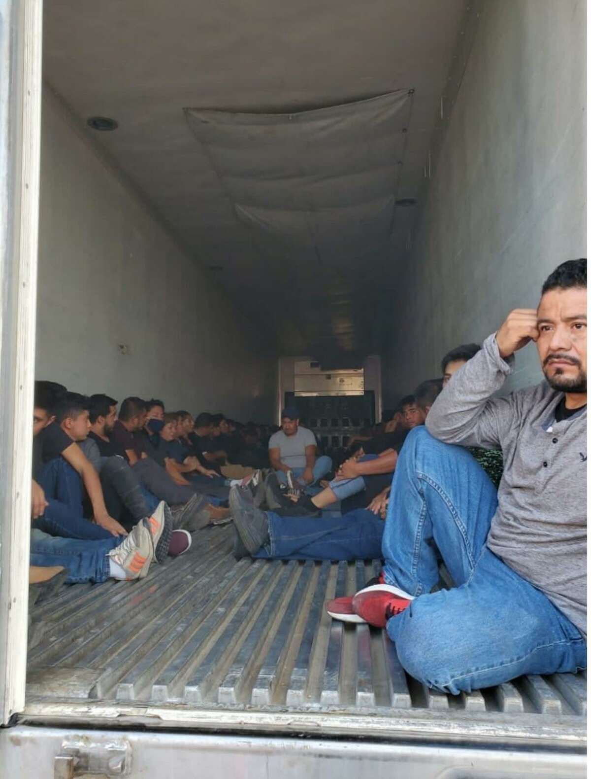 Laredo police officers said they discovered these 63 immigrants inside a trailer. The 18-wheeler was discovered behind Burlington Coat Factory on San Bernardo Avenue.