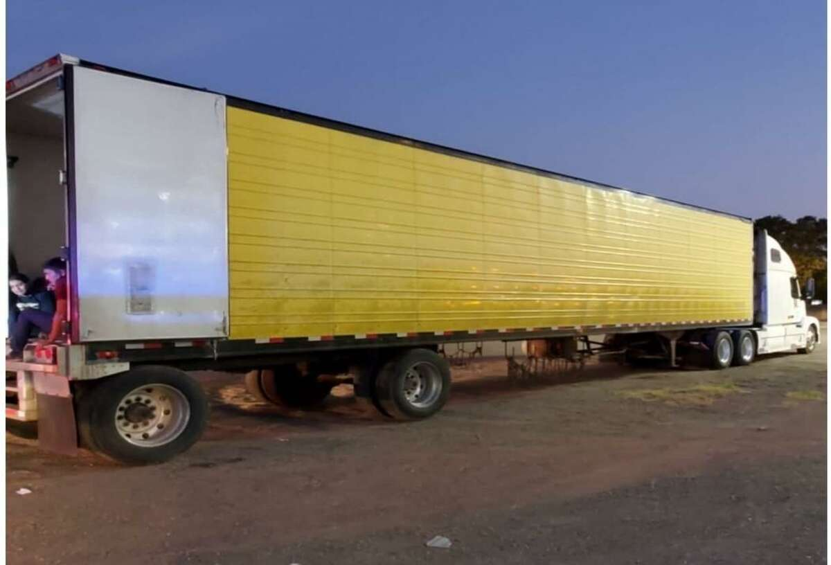 This 18-wheeler was found loaded with 63 immigrants. The tractor-trailer was located behind Burlington Coat Factory on San Bernardo Avenue.