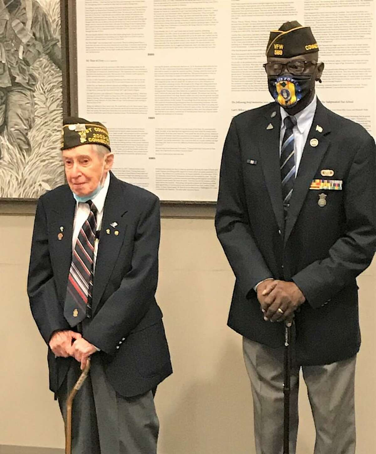 Veterans Raymond Trembly, left, who fought in World War II, and Lawrence Riley, a Vietnam veteran.