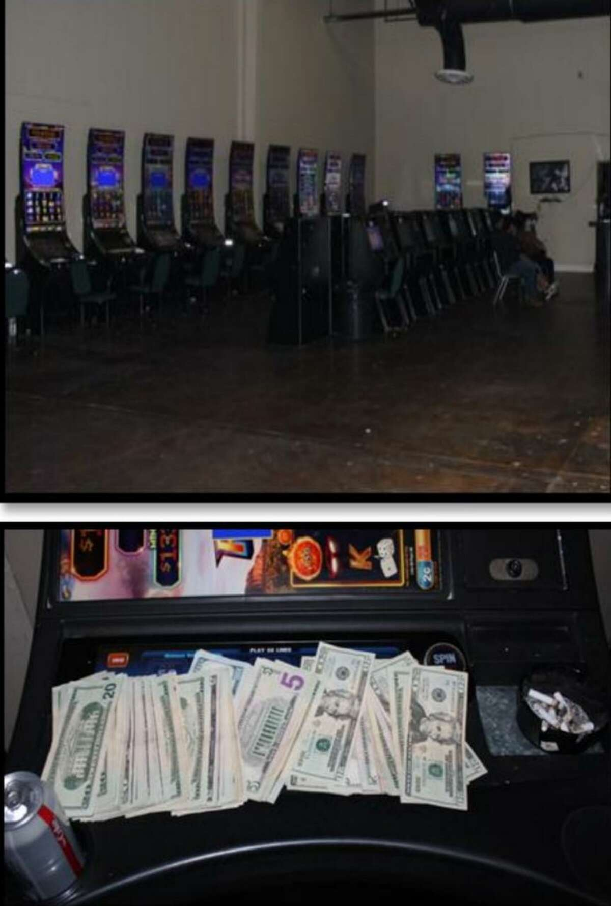 Laredo police said they raided this underground maquinitas establishment and seized $6,917. In addition police cited the manager of the business and three customers.