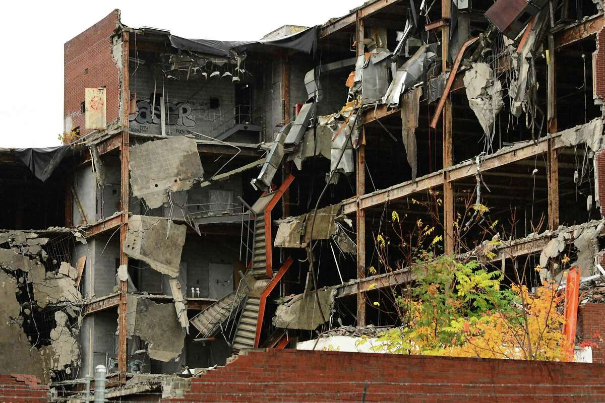 The derelict Leonard Hospital is finally being demolished decades after it was closed on Friday, Oct. 16, 2020 in Troy, N.Y. (Lori Van Buren/Times Union)