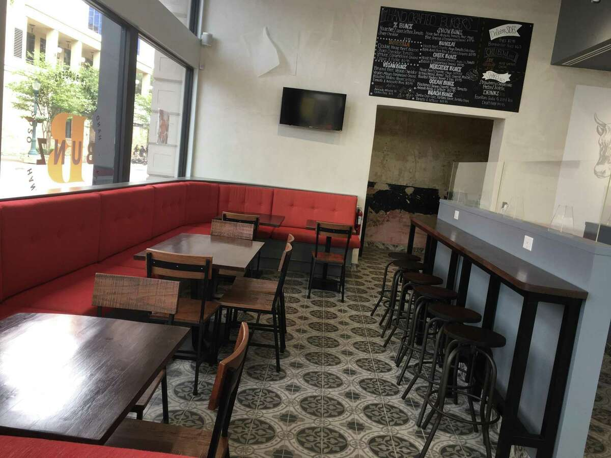 The interior dining space at Bunz Handcrafted Burgers, located downtown on Houston Street.